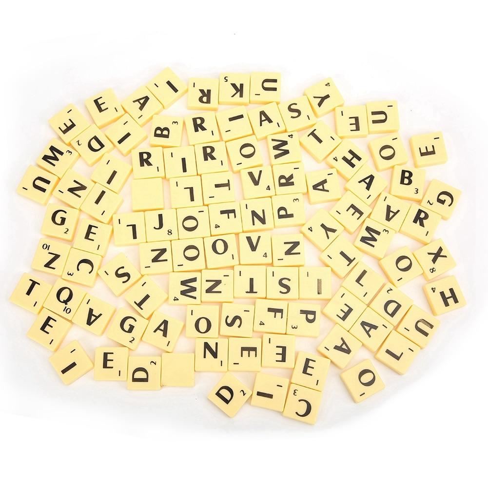 1set English Words Plastic Letters Alphabet Tiles Black Scrabbles Letters & Numbers For Crafts Plastic
