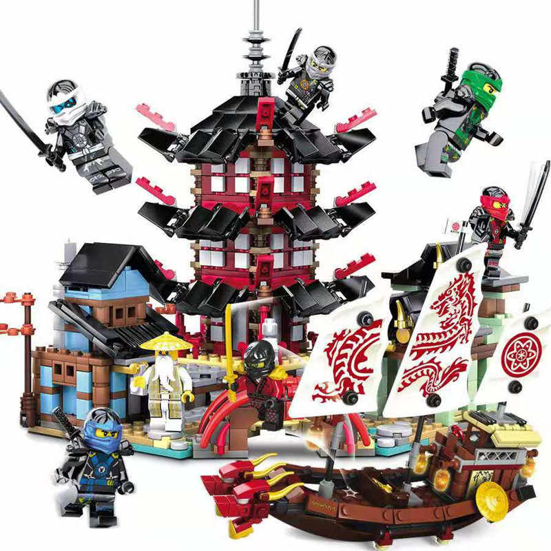 737 Pcs Diy Ninja Temple of Airjitzu Ninjagoes Building Blocks Set Toys For Kids