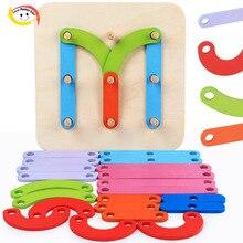 1 Set Montessori giocattoli per bambini in legno fai da te lettera numero costruzione Puzzle impilamento giocattolo forma colore selezionatore gioco per l'apprendimento dei bambini