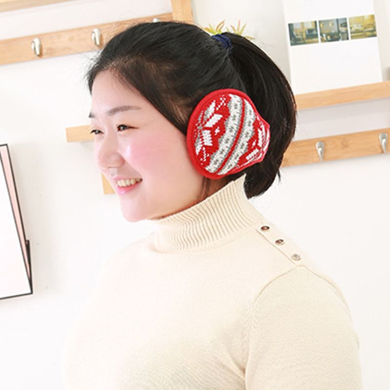 Women Men Snowflake Knitted Earmuffs Foldable Winter Thicken Plush Ear Warmers