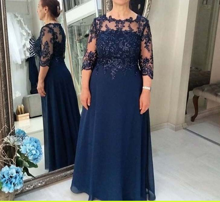 Blue Mother Of The Bride Dresses A-line 3/4 Sleeves Chiffon Appliques Beaded Groom Mother Dresses For Weddings