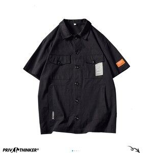 Image 5 - Privathinker Men Safari Style Shirt Streetwear 2020 Mens Japanese Shirts Casual Korean Male Big Pockets Shirts Summer Oversize