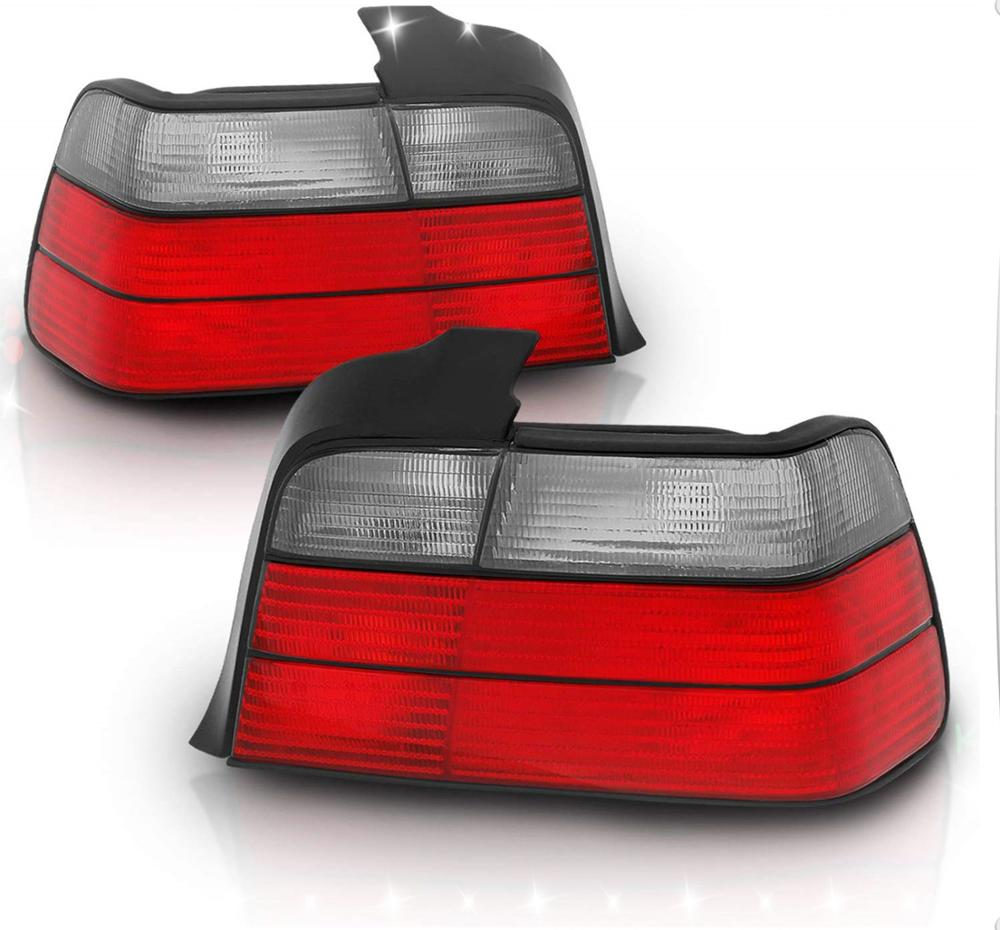 Sulinso 4 Door Coupe Replacement Brake Tail Lights Red/Smoke Set For 92-98 BMW 3 Series E36 - Passenger And Driver Side