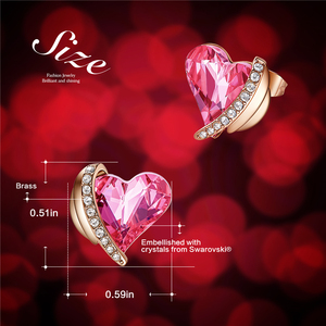Image 4 - CDE Women Gold Earrings Jewelry Embellished with Crystals from Swarovski Pink Angel Wings Heart Stud Earrings Fine Jewelry Gifts