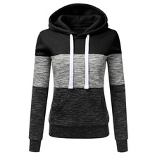 Fashion Womens Casual Hoodies Sweatshirt Patchwork Long Sleeve  Hooded Blouse Pullove 7.26