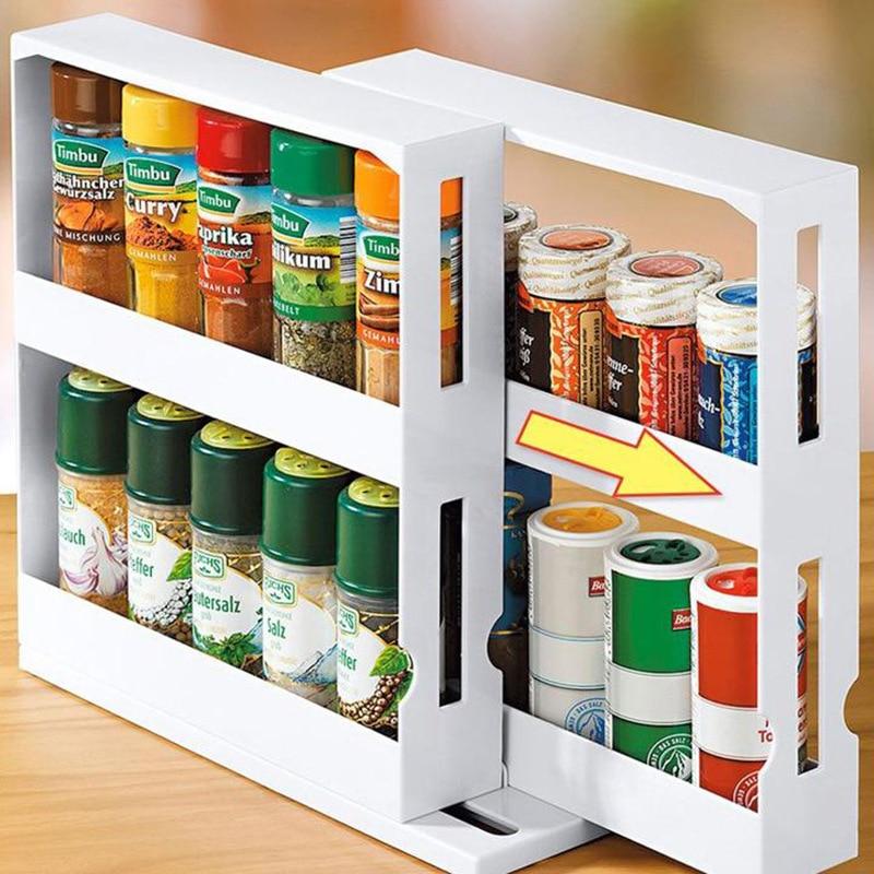 Kitchen Storage Spice Organizer Storage Rack Shelf For Home Multi-Function Rotating Food Holder Organizer Shelves