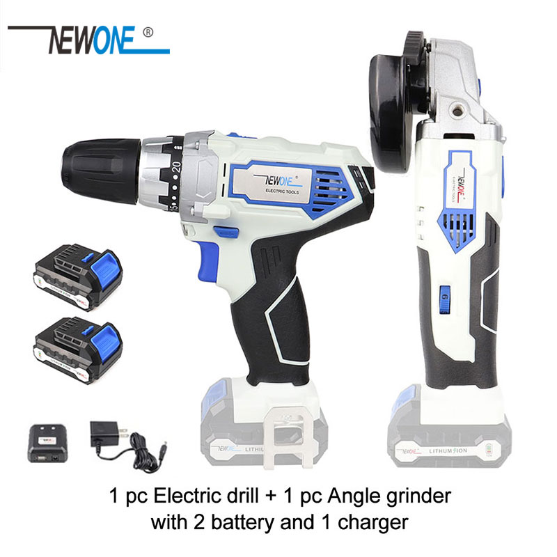 Keinso newone 12V 2000mah power tools Angle grinder and Electric drill with two lithium battery and