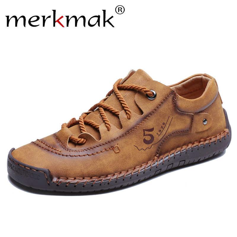 Merkmak Neue Frühjahr Casual Leder Schuhe Männer Handgemachte Mokassins Für Männer Bequeme Schuhe Boot Männer Turnschuhe Große Größe 48