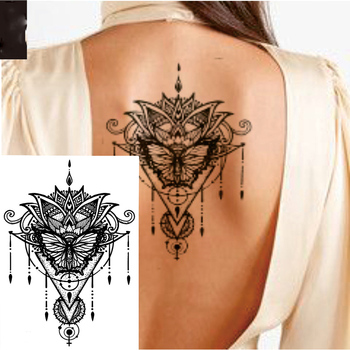 1 PIECE Back or Sternum Big Mehndi Flower Waterproof Temporary Tattoo Body Art Sexy Waist Fake Tatoo For Girl Women