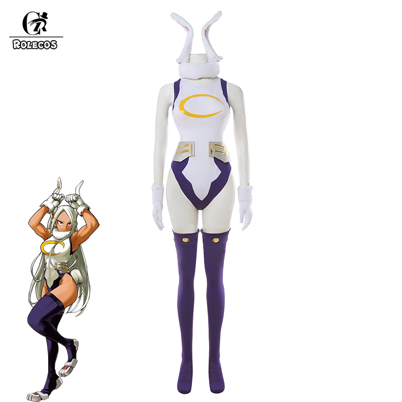 ROLECOS My Hero Academia Cosplay Costume Rabbit Hero Miruko Sexy Jumpsuit Boku No Hero Academia Bunny Girl Cosplay Rompers Suit