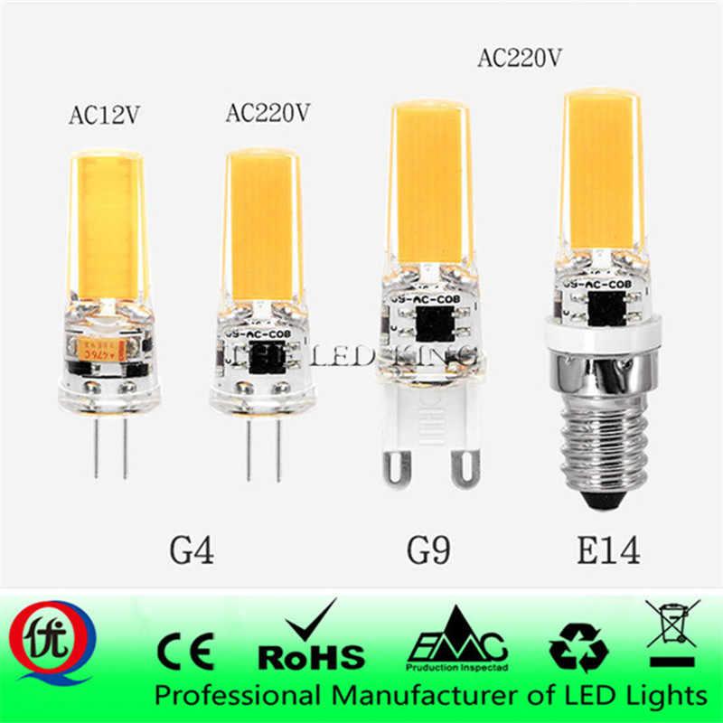 LED G4 G9 E14 Lamp Bulb AC/DC Dimming 12V 220V 3W 6W 9W 12W COB SMD LED Lighting Lights replace Halogen Spotlight Chandelier