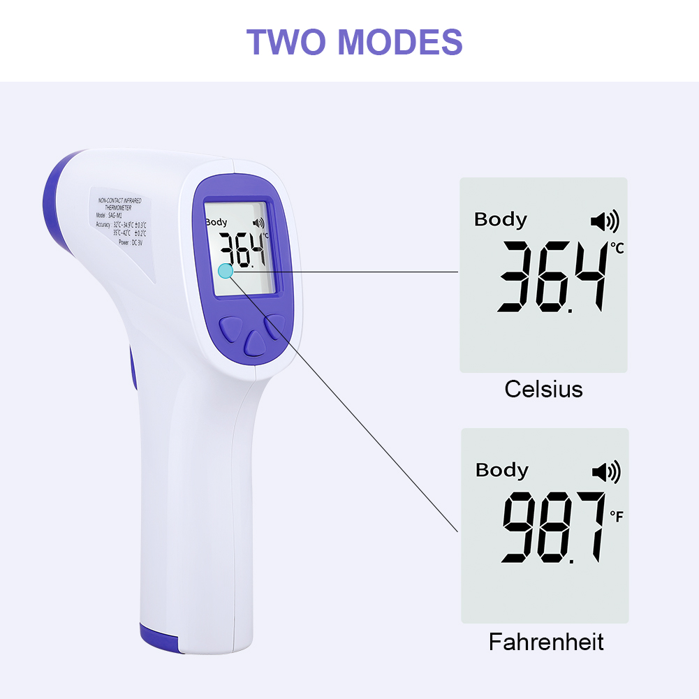 Non-contact IR Body Infrared Thermometer Forehead Body Temperature Measurement LCD Digital Display For Baby Children And Adults