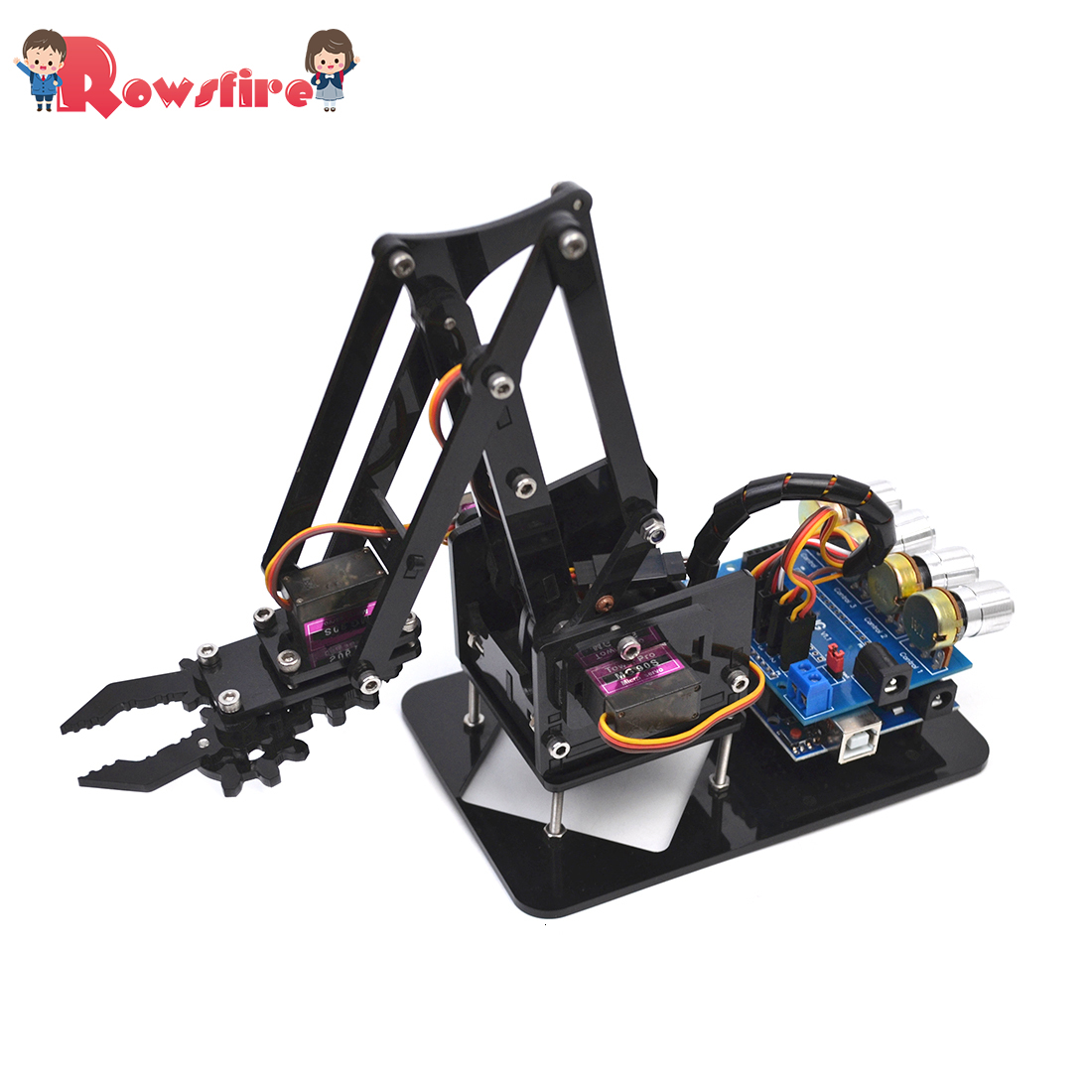 DIY Acrylic Robot Arm Robot Claw Arduino Kit 4DOF Mechanical Grab Manipulator