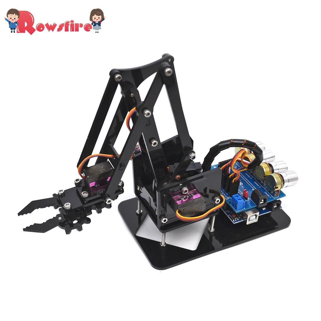 DIY Acrylic Robot Arm Robot Claw Arduino Kit 4DOF Mechanical Grab Manipulator