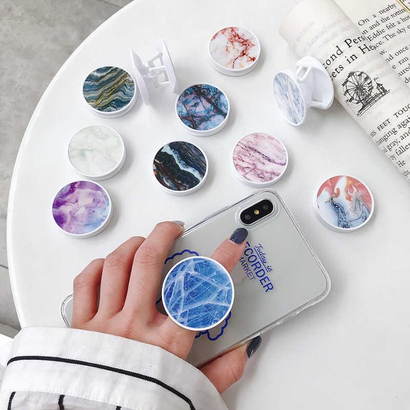 Supports de support de téléphone pliables en marbre coloré de luxe pour tous les téléphones et tablettes porte-anneau universel de doigt de téléphone portable