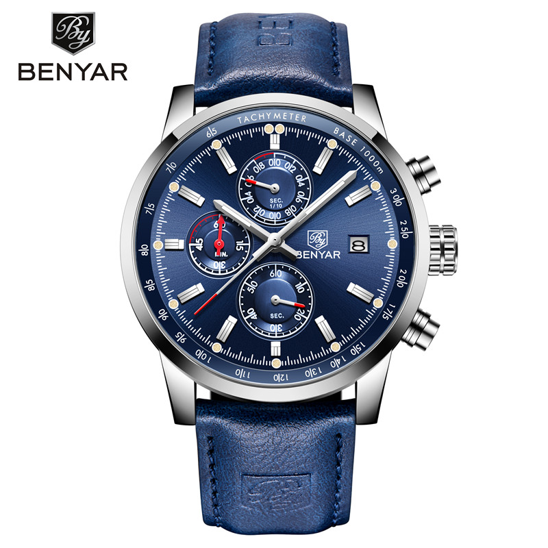 BENYAR Men's Watches Luxury Top Brand Quartz Chronograph Watch Fashion Sports Automatic Date Leather Men Clock Relogio Masculino-in Quartz Watches from Watches