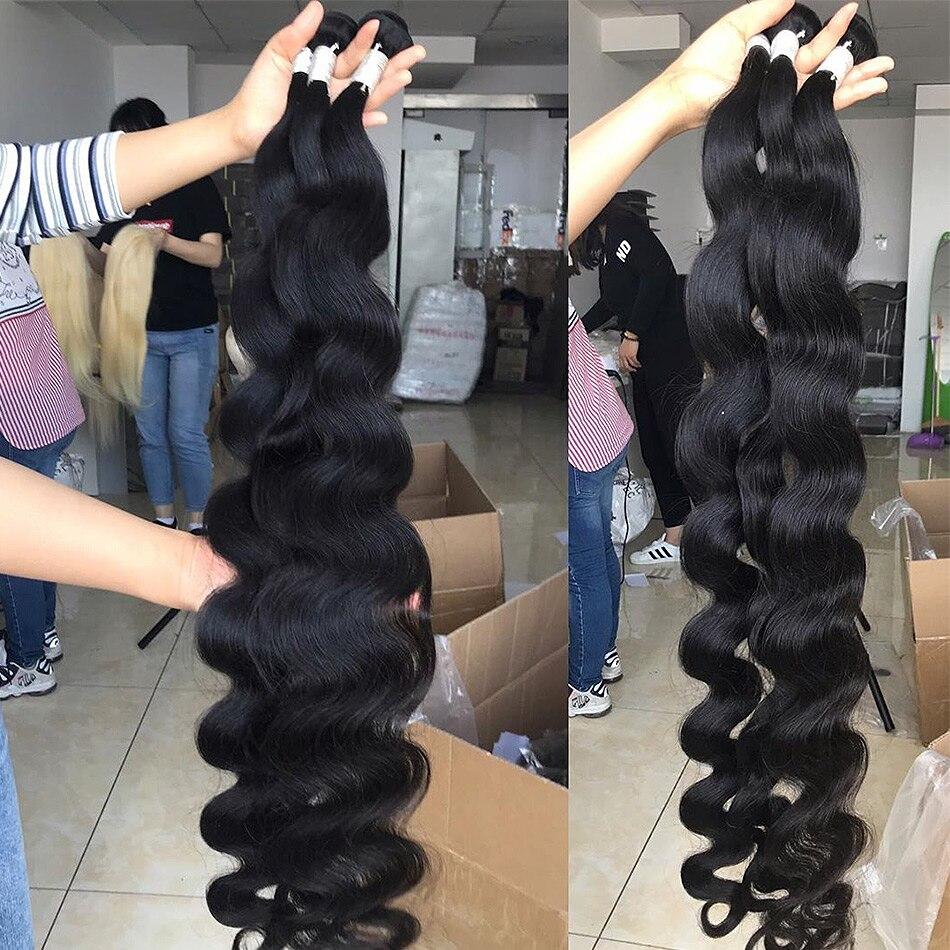Luvin 28 30 32 34 40 Inch 1 3 4 Braziliaanse Hair Weave Bundels Body Wave Remy Menselijk Haar Natuurlijke double Drawn 3