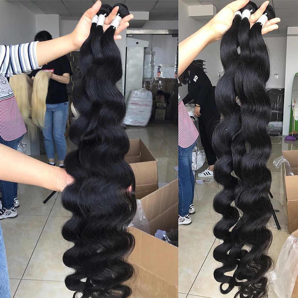Luvin 28 30 32 34 40 inç 1 3 4 brezilyalı saç örgü demetleri vücut dalga Remy insan saçı doğal çift çizilmiş
