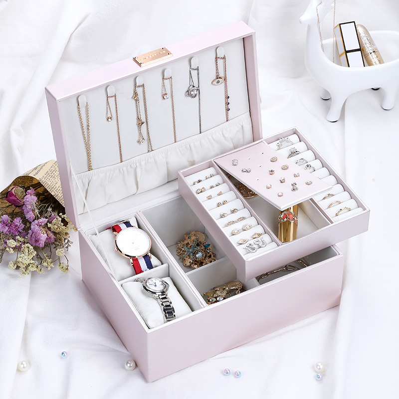 Casegrace 2019 Fashion Design Luxury Pink PU Leather Jewelry Box Organizer Watch Case Earring Ring Necklace Jewelry Storage Box