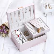Casegrace 2019 Fashion Design Luxury Pink PU Leather Jewelry Box Organizer Watch Case Earring Ring Necklace Jewelry Storage Box
