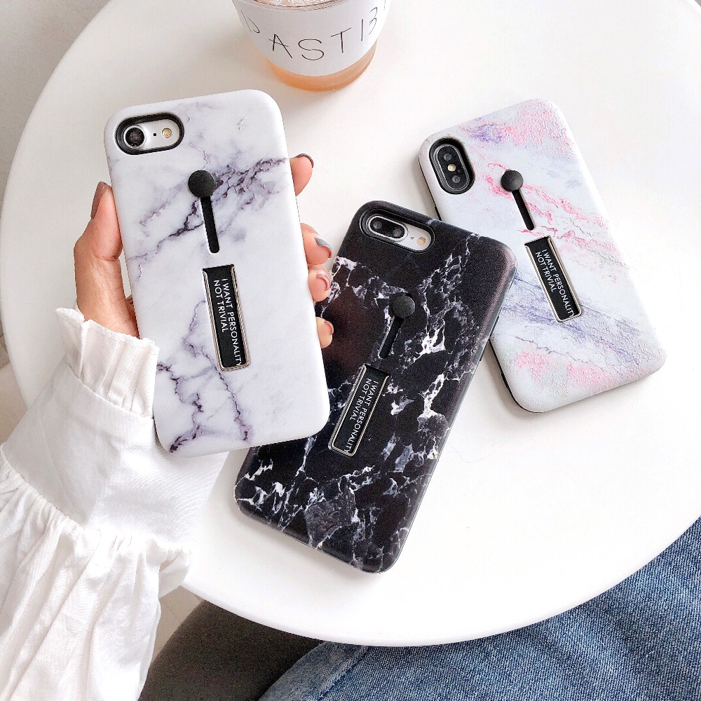 For iPhone 7 7 Plus 8 Plus X XS MAX XR Fashion 3D Relief Marble <font><b>Loop</b></font> <font><b>Ring</b></font> <font><b>Phone</b></font> <font><b>Cases</b></font> For iPhone 7 6S Hard Plastic Cover Stand image