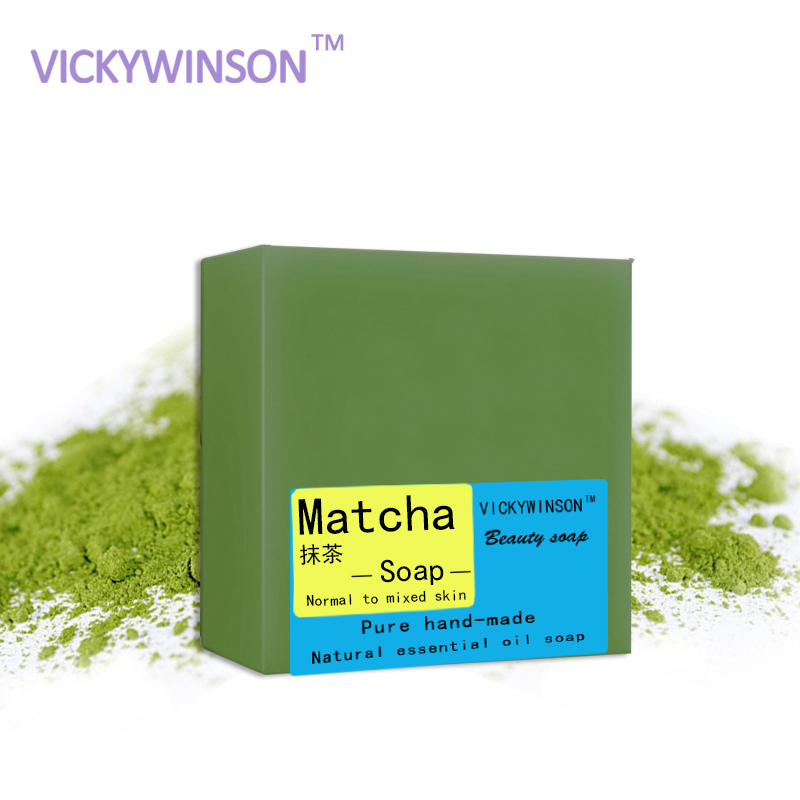 VICKYWINSON Matcha Handmade Soap Essential Oil Soap Oil Control To Blackhead Acne Wash Facial Cleansing Soap Bath Soap 100g