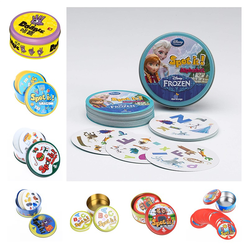 New Frozen HP spot it and dobble card game table Board Game For Dobbles Kids Spot Cards It Go Camping Metal Tin Box toys(China)