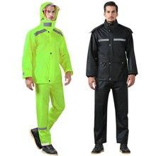 цена на Adult Cycling Motorcycle Raincoat Waterproof Full Body Suit Rain Coat Pants M-4XL Polyester Fiber Rainy Day Cycling Poncho