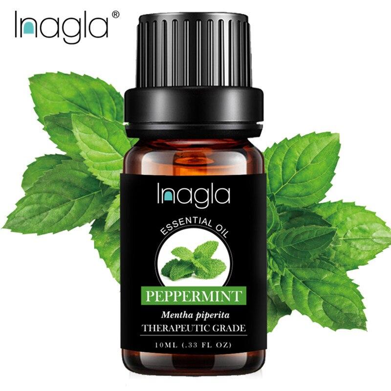 Эфирные масла для ароматерапии Inagla с перечной мятой, 100% чистые, диффузоры, эфирное масло для снятия стресса, органический массаж, расслаблен...