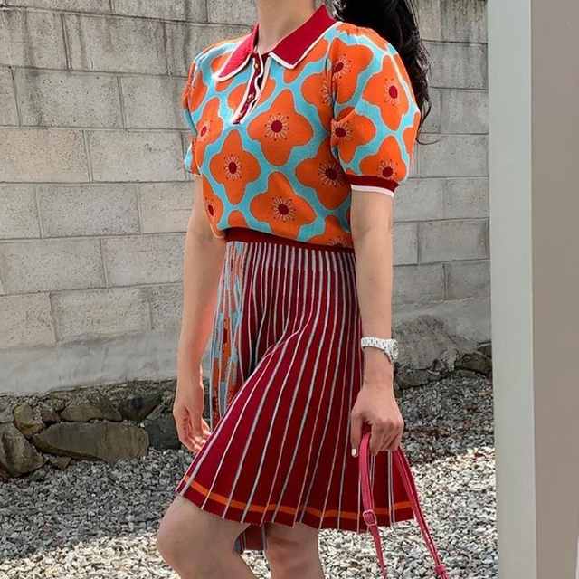 [EWQ] women Summer Retro Lapel Loose Puff Sleeve Sweater + High Waist Pleated Skirt Contrast Color Suit Fashion Casual16F08400 4