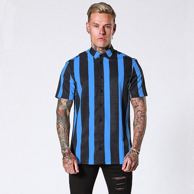 2019 Новая повседневная мужская рубашка в полоску с коротким рукавом, летняя дышащая модная мужская деловая рубашка, облегающие топы, сорочка