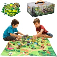 Figures Dinosaur Toys Realistic with Activity Play Mat Trees Educational Dinosaur Playset Gift for Kids Assembly/Assembling