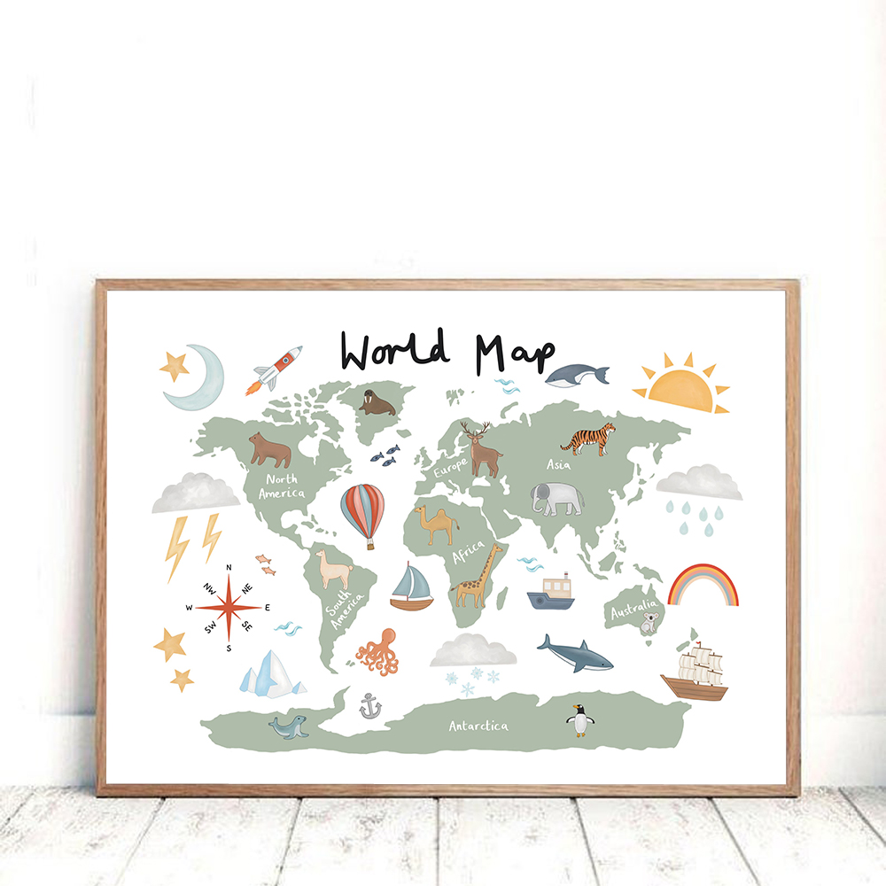 Woodland Animal World Map Poster Art Prints Nursery Decor Watercolour Map With Animals Canvas Painting For Kids Room Wall Art