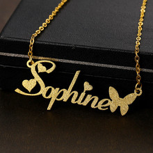 Name Necklace Stainless-Steel Jewelry Chocker Gifts Customized Butterfly Women for Frosted