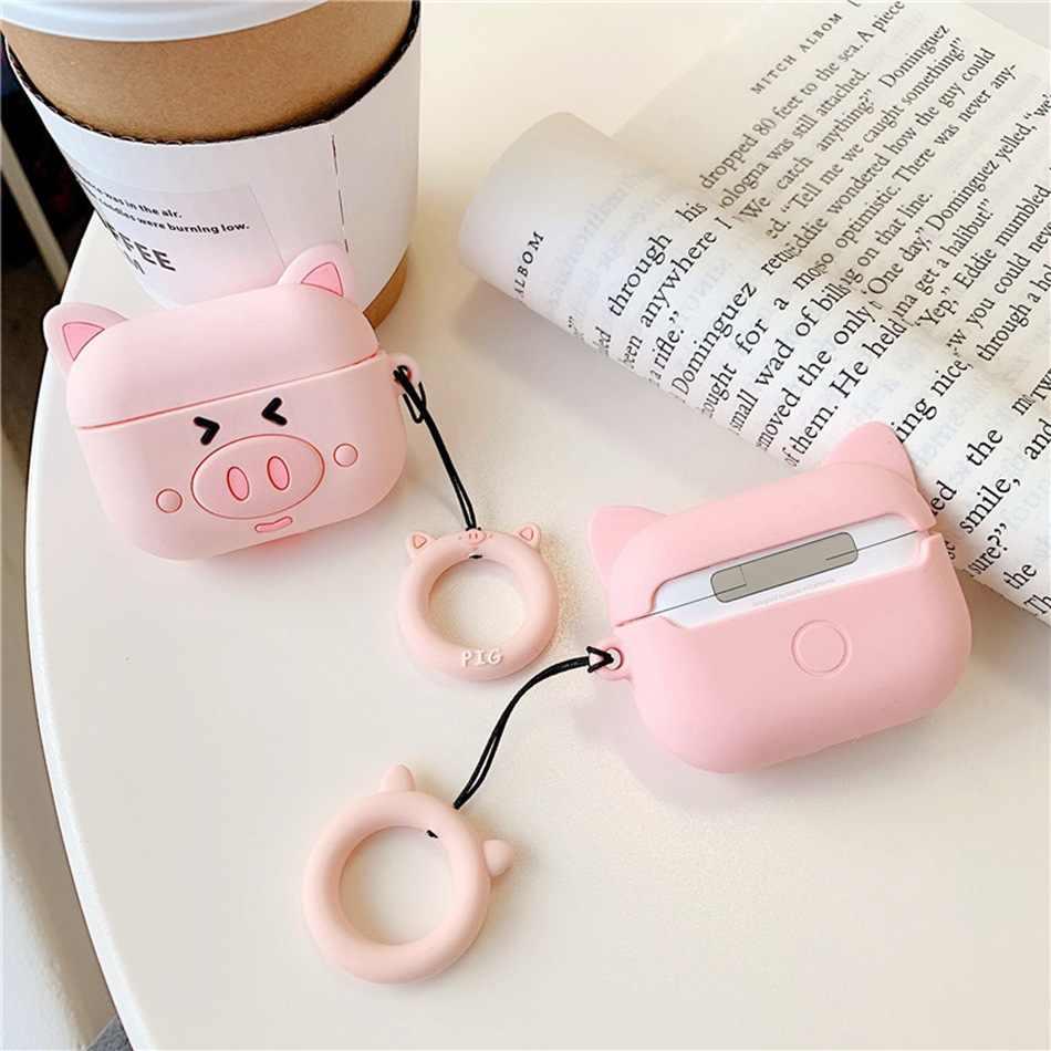 Untuk Airpods Pro Case 3D Kucing Lucu Babi Bebek Kawaii Anime Kartun Earphone Cover untuk Airpods 3 Lembut Melindungi Case dengan Carabine Hook
