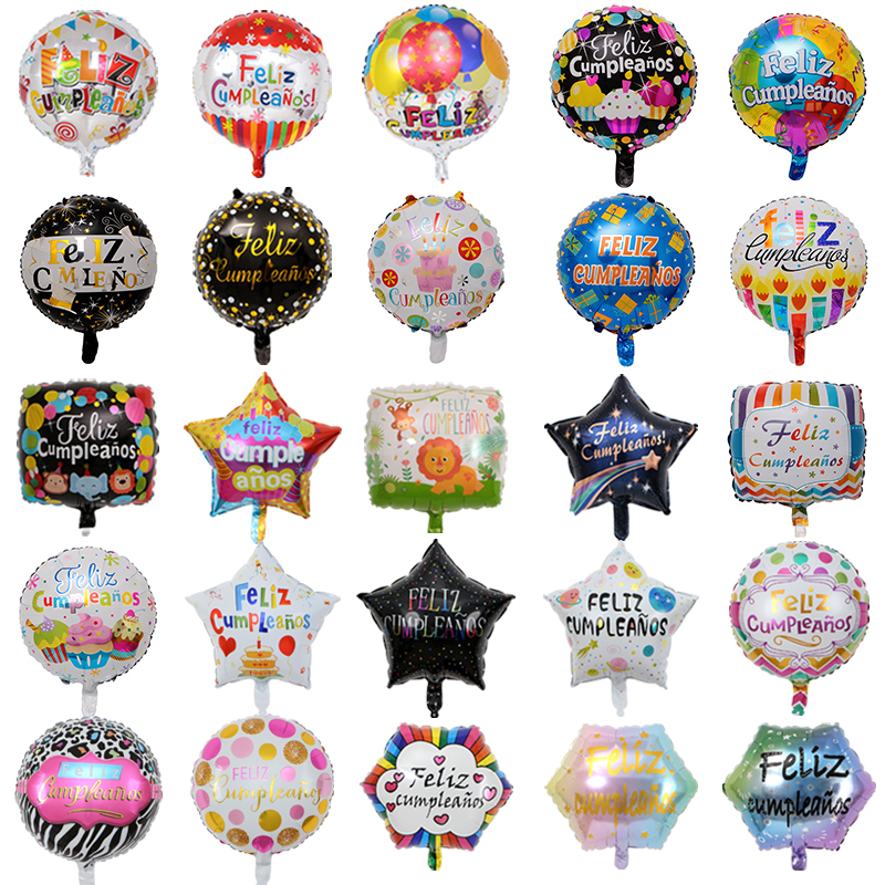 50pcs 18inch New Spanish helium foil balloons Feliz <font><b>cumplea</b></font>ñ<font><b>os</b></font> balloons globo happy birthday decor Rose Gold Round bulk sell image