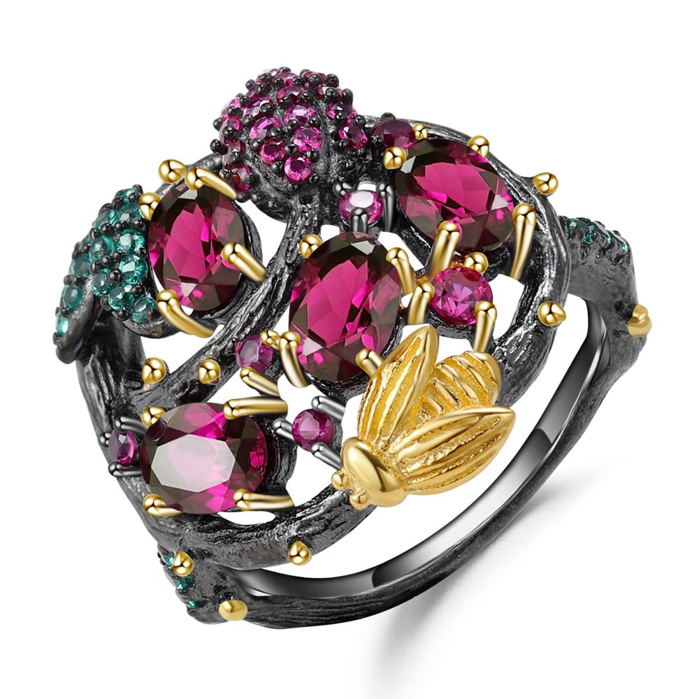 GEM'S BALLET 925 Sterling Silver Handmade Branch Gold Bee Rings Natural Rhodolite Garnet Gemstone Ring for Women Fine Jewelry