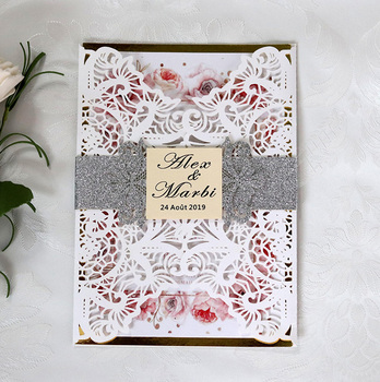 50pcs Fancy Hollow out card a romantic waist tape Invitation Card Greeting Card Customize Business With RSVP Card Party Supplies