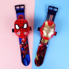 3D Projection Princess Elsa Children Watches Kids Cartoon Pattern Spiderman Iron Boys Watch Child Digital Wristwatches Relogio(China)