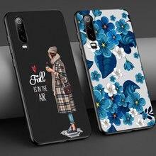 La muchacha de flor para Huawei P30 P40 P20 Lite Pro amigo 40 30 20 Lite Pro P Smart Plus Honor 30 20 9X Pro Lite cubierta de la caja del teléfono