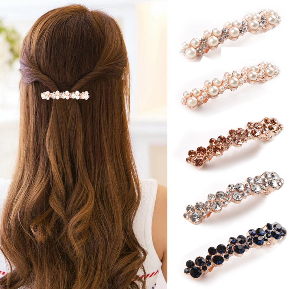 Korea Crystal Pearl Women Barrettes 2019 Elegant Hair Clips For Girls Hairgrips Hair Accessories Crystal Hairpins Sweet BB Clips