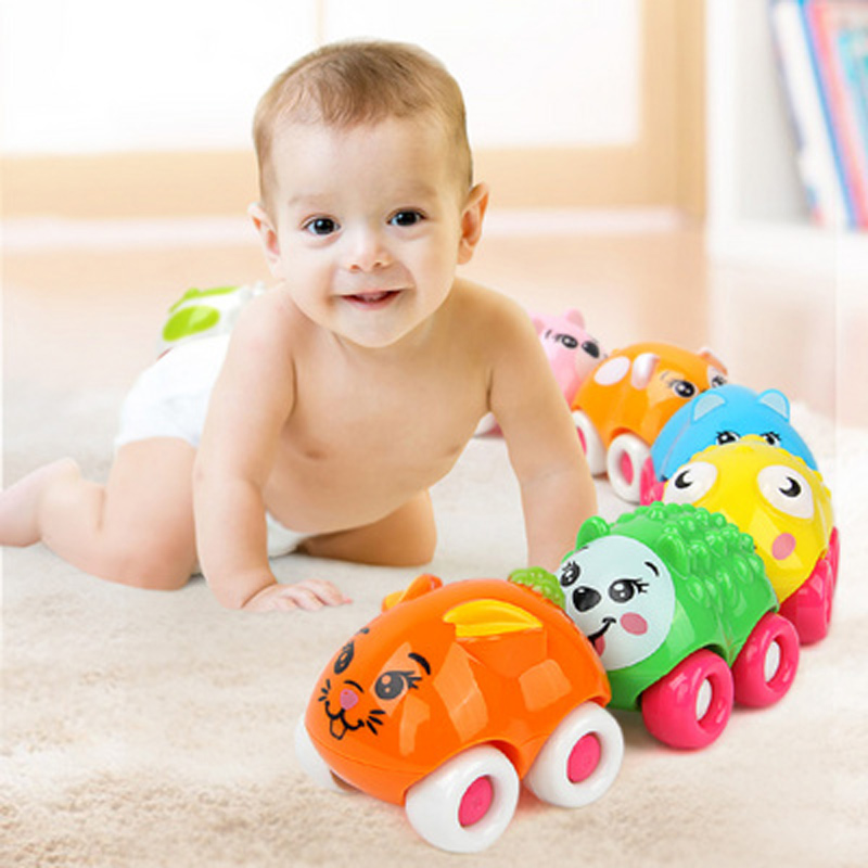 8PCS Push Sliding Car Magnetic Connection Toys Cute Cartoon Animal Early Educational Kids Classic Baby Toys Infant Crawling