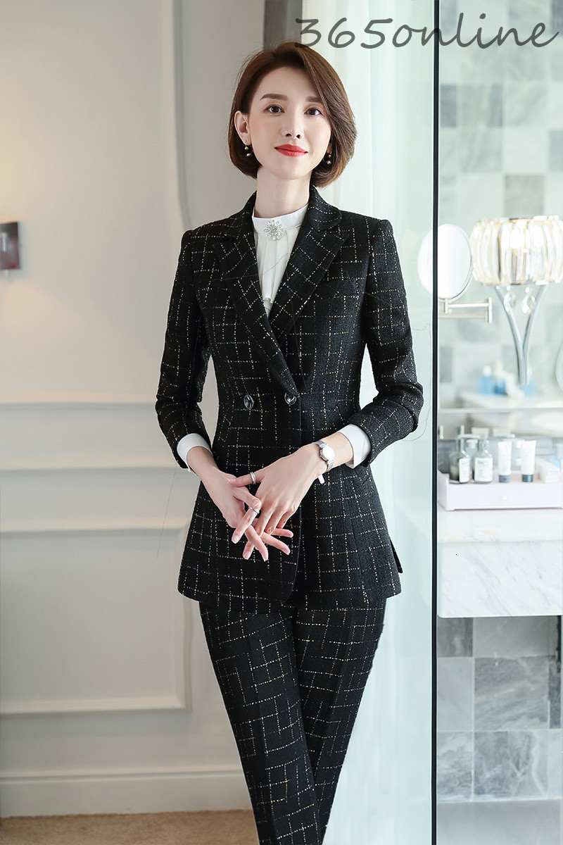 Formal Uniform Designs Pantsuits Women Business Suits with Pants and Jackets for Ladies Office Work Wear Professional Blazers
