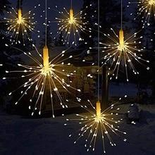 5 1 불꽃 놀이 문자열 조명 승/원격 제어 구리 와이어 요정 폭발 빛 크리스마스 축제 정원 장식 미국 플러그