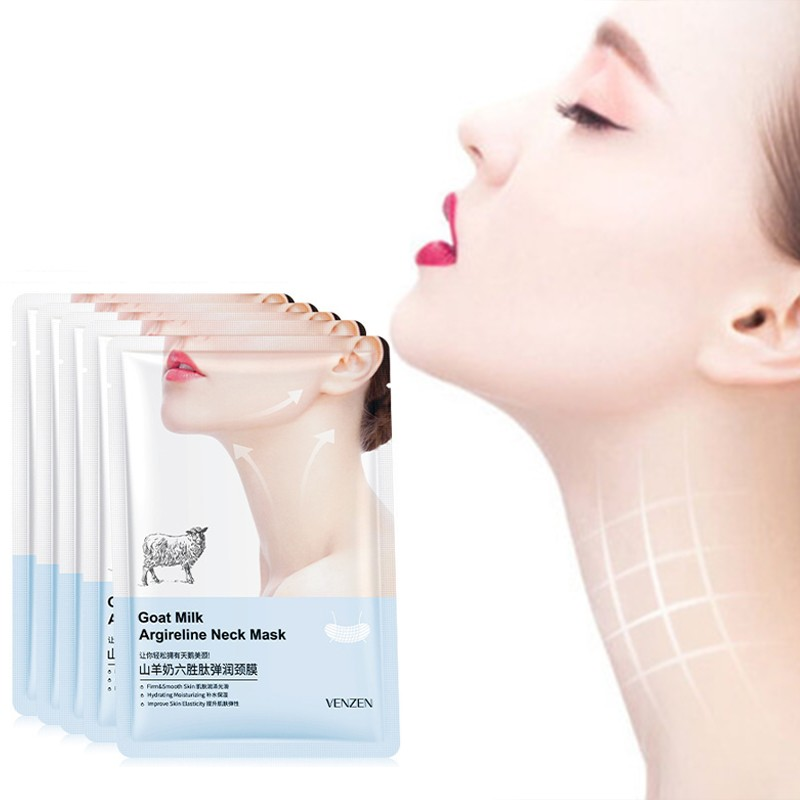 Goat Milk Hexapeptide Neck Mask Hydrating Whitening Collagen Neck Patch Anti-Wrinkle Anti-Aging Neck Lift Firming Care Cream 1pc