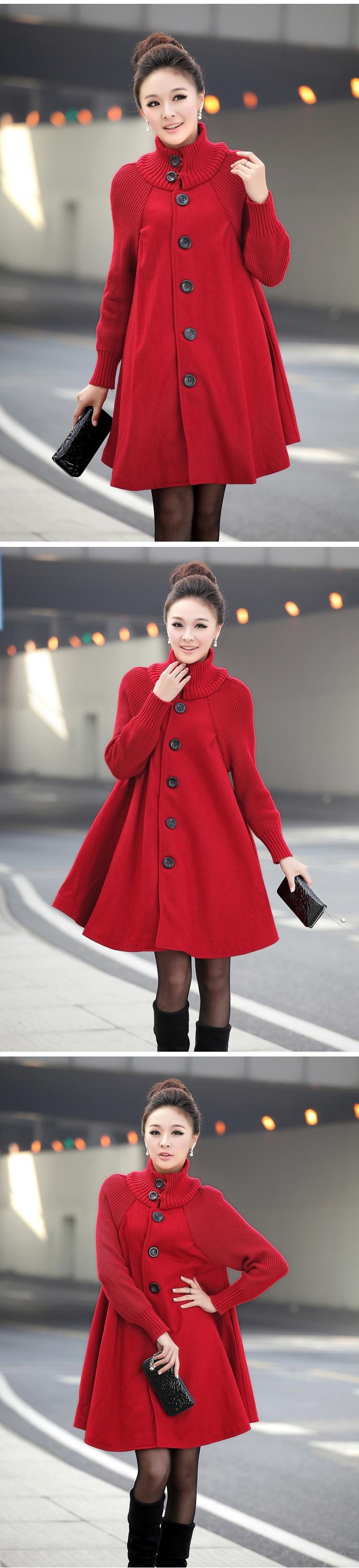 Autumn Winter Coat Women 2019 Casual Vintage Patchwork Cloak Plus Size Coats Female Elegant Warm Black Long Coat casaco feminino 73