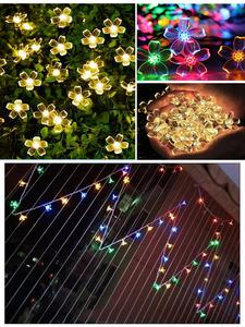 Flower-Link Led-Light Christmas Outdoor String Garden-Decoration Battery-Powered Indoor