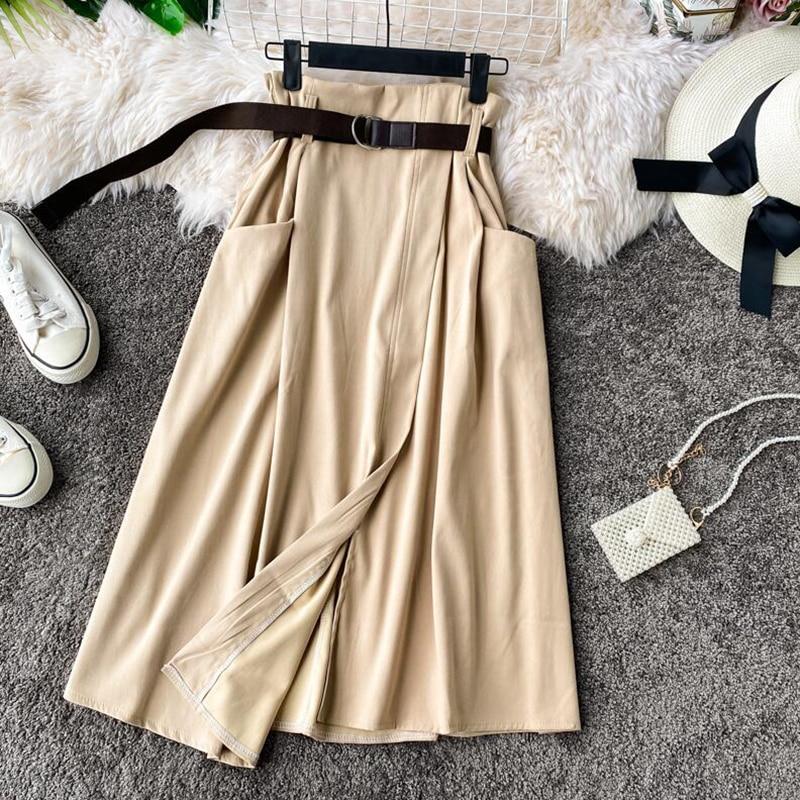 Slim High Waist A-line Skirts Womens 2020 Spring Summer Irregular Elegant Midi Skirt Korean Pocket Female With Belt Casual Skirt