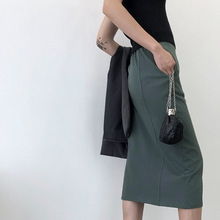 Zmra/осенне-зимнее Новое Стильное женское платье Dongdaemun шикарная Однотонная юбка с высокой талией и разрезом в стиле ретро