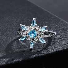 Rings For Women Men Blue Fowers Silver Wedding Ring Fashion Steampunk Stainless Steel Women Jewelry Accesories Gifts for girls
